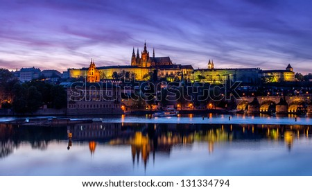 View of the Cathedral of St. Vitus, Charles bridge (Karluv most), the Vltava River, Prague, Czech Republic.