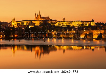 View of the Cathedral of St. Vitus in the evening, Hradcany (Prague).