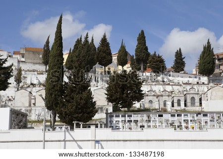 View of the cemetery in Vila Franca de Xira, Portugal - stock photo