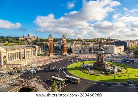 View of the center Barcelona. Spain in a summer day - stock photo