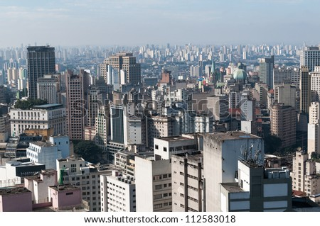 View of the central region of Sao Paulo, near the cathedral se. - stock photo