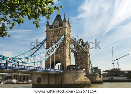 view of the central span of the Tower Bridge over the Thames, London, England