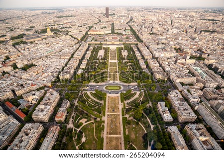 View of the Champ de Mars from the Eiffel Tower, Paris, France - stock photo