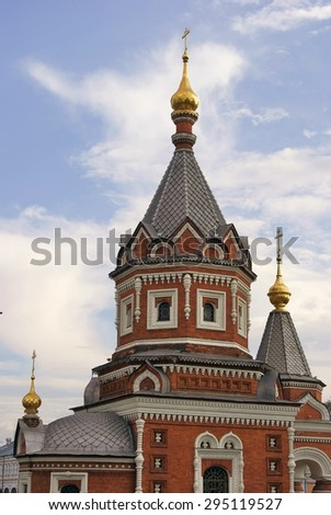 View of the Chapel of Alexander Nevsky in Yaroslavl, Russia. A popular touristic landmark.