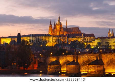 View of the Charles Bridge and Prague Castle at sunset.