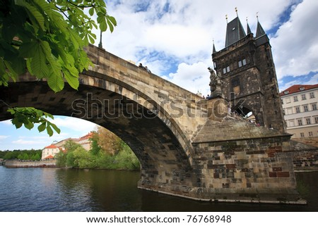 View of the Charles Bridge in Prague, Czech republic - stock photo