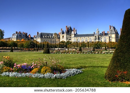 View of the Chateau de Fontainebleau and its huge park, situated close to Paris it introduced the Mannerist style of architecture to France and is the largest royal chateau - stock photo