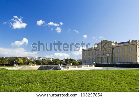 View of the chateau in Marseille seen from the park - stock photo