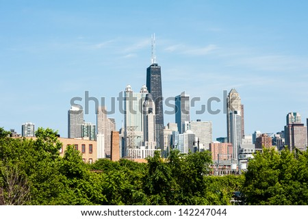 View of the Chicago skyline from the west - stock photo