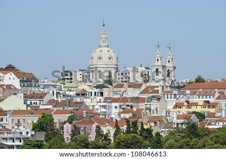 "View of the church ""Basilika Estrela"" and the old town of Lisbon in Portugal"