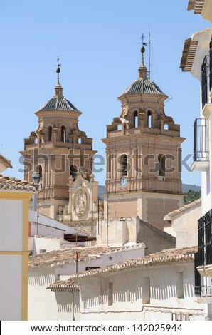 View of the Church of V�©lez-Rubio in Almeria, Spain, from the streets of the village - stock photo