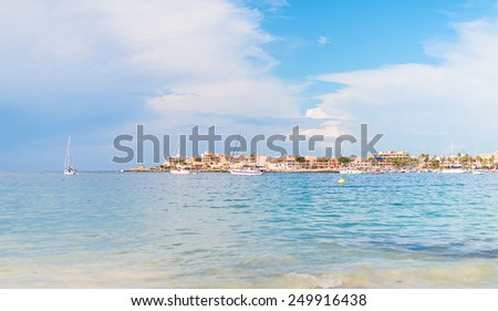 View of the city and bay with yachts. - stock photo