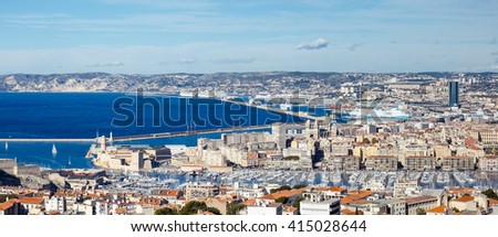 View of the city from a height of Marseille