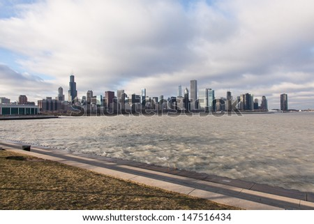 View of the city from lakefront in museum park. - stock photo