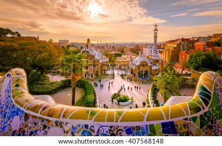 View of the city from Park Guell in Barcelona - stock photo