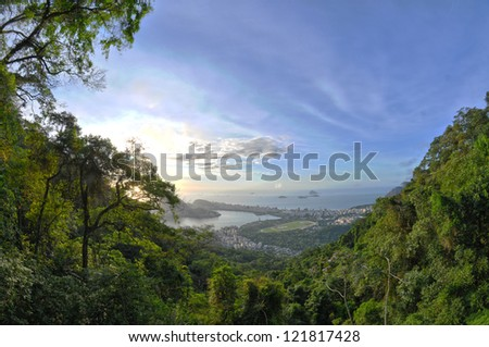 View of the City from the road to Corcovado where the famous landmark Christ the Redeemer is