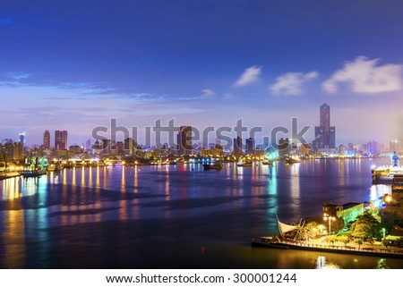view of the city in Taiwan - Kaohsiung - stock photo