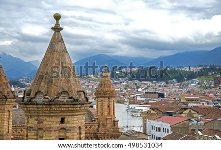 View of the city of Cuenca, Ecuador, from the top of the Cuenca Cathedral.
