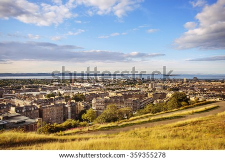 View of the city of Edinburgh from Calton Hill. Beautiful nature walk with great views. - stock photo