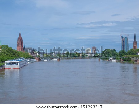 View of the city of Frankfurt am Main from the River Main