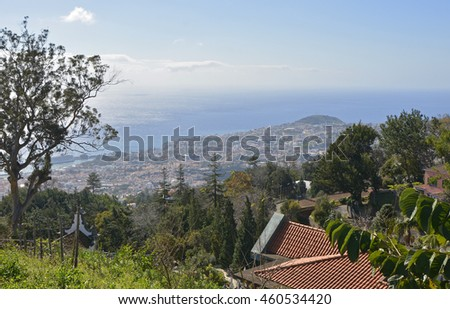 View of the city of Funchal and the Atlantic Ocean from Monte, Madeira, Portugal