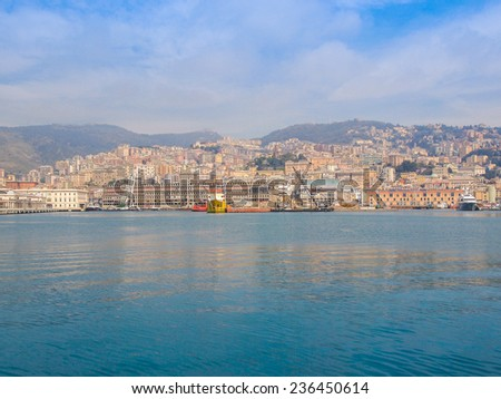 View of the city of Genoa from the sea - stock photo