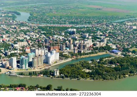 View of the city of Krasnodar - stock photo