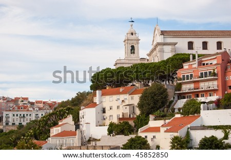 view of the city of Lisbon with hills houses and the church