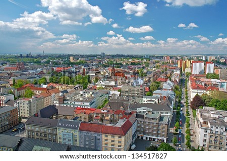 View of the city of Ostrava at the summer time and sunny weather as seen from the lookout on the top of the city hall