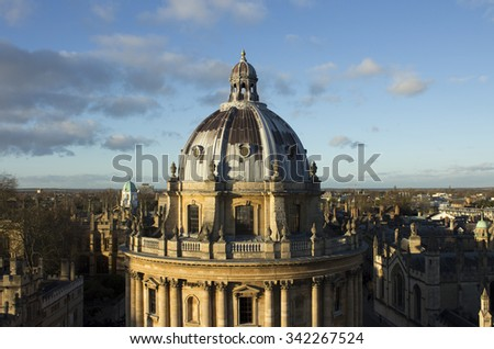 View of the city of Oxford, including Radcliffe Camera, taken from The University Church of St Mary the Virgin, Oxford United Kingdom - stock photo