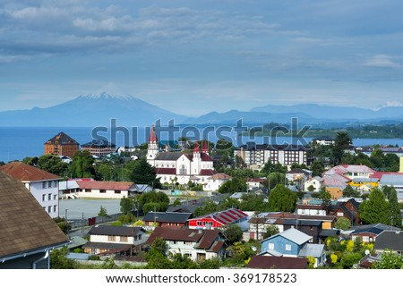 View of the city of Puerto Varas and Llanquihue lake and Osorno volcano (Chile)