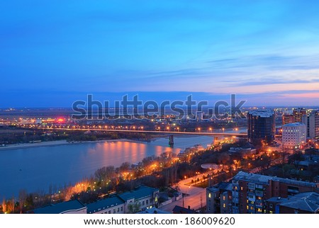 View of the city of Rostov on Don and the bridge across the river - stock photo