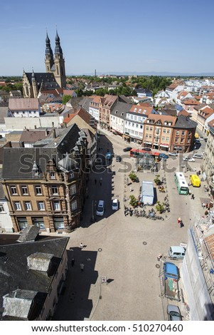 View of the city of Speyer in Rhineland Palatinate Germany Europe in early summer on a sunny day