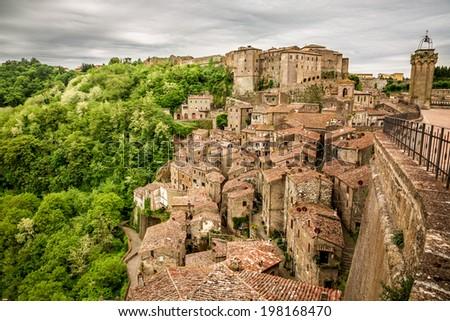 View of the city Sorano, Italy - stock photo