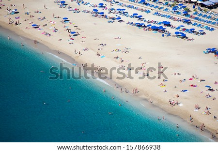 View of the Cleopatra beach in Alanya  - stock photo