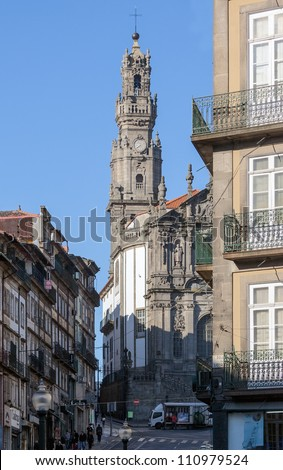 View of the Clerigos tower (Torre dos Clerigos) in Porto - Portugal