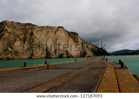 View of the cliffs from Tolaga Wharf on New Zealand's North Island