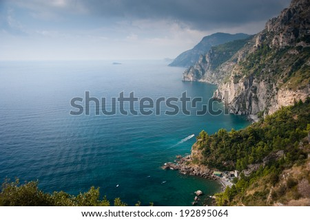 View of the cliffs of the Amalfi drive - stock photo