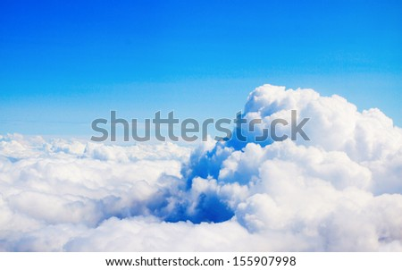 View of the clouds from above, lot's of free space, nice for using like background - stock photo