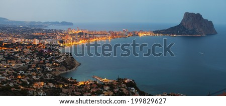 View of the coast and Mount Ifach at sunset (Calpe, Spain)