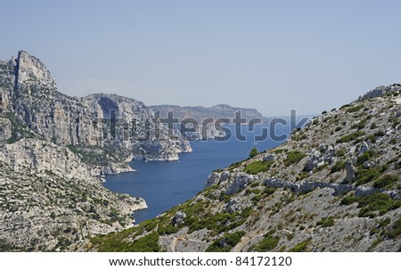 "View of the coast ""Calanque Morgiou"" and the ""Cap Canaille"" in South France"