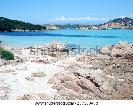 View of the coast in Emerald Coast Sardinia Italy - stock photo