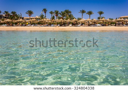 View of the coast of Africa in Egypt by sea - stock photo