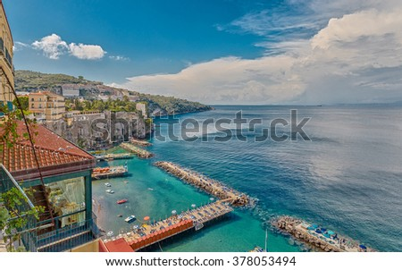 View of the coast of Sorrento, Italy.