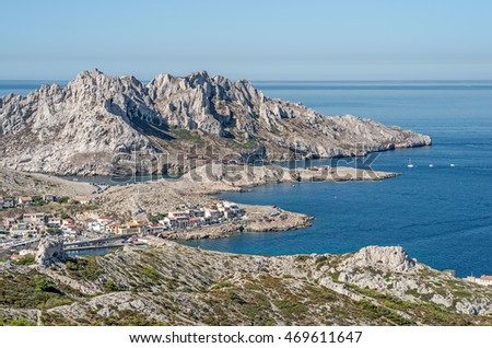 "View of the coast, the ""Island Maire"" and the village ""Les Goudes"" near Marseille in South France"