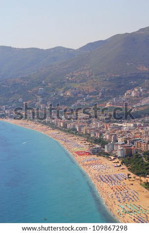 View of the coastline in Alanya - stock photo