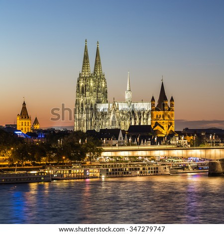 view of the Cologne Cathedral at sunset in summer, germany