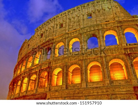 View of the Colosseum at dusk, Rome, Lazio, Italy