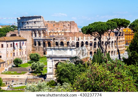 view of the Colosseum fro, the Roman Forum, in Rome, Italy