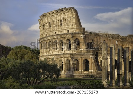 View of the Colosseum in Rome, Italy seen from the Roman Forum - stock photo